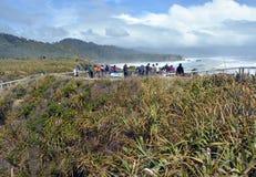 Turistas que tomam fotos em rochas de Punakaiki, costa oeste Zealan novo Fotos de Stock Royalty Free