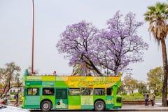 Turistas que viajam no aberto telhado lúpulo-no ônibus de excursão do lúpulo-fora Sevilha, Spain fotografia de stock