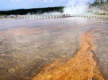 Turistas que visitan la primavera prismática magnífica, Yellowstone NP Imagen de archivo libre de regalías