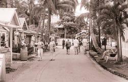 Turisten går den lilla palmträdet fodrade Key West gatan med souvenir Royaltyfri Fotografi