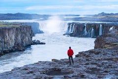 Turisten i ett rött omslag ser den Selfoss vattenfallet fotografering för bildbyråer
