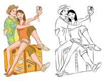 Turisten kopplar ihop att ta deras självståendevektorillustration Arkivfoto