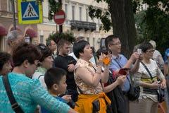 Turister beundras av sikten Royaltyfri Bild
