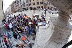turister för italy piazzarome spagna Royaltyfri Fotografi
