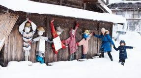 Turister i Japan på vintern Royaltyfri Foto