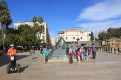 Turister i Malaga, Spanien Arkivbild