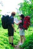 Turister i skogen Arkivbild