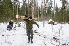 Turister i skogen för att skörda trä för branden Arkivbilder
