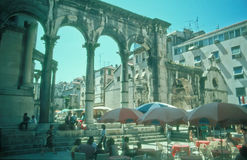 Turister i splittring, Kroatien Royaltyfri Fotografi