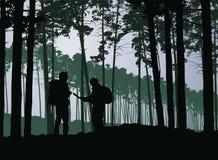 Turister, man och kvinna med ryggsäckar och översiktsvandring i för stock illustrationer
