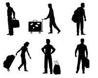 Turister med bagage Fotografering för Bildbyråer