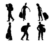 Turister med bagage vektor illustrationer