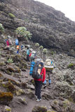 Turister och portvakter på vägen till Kilimanjaro Royaltyfri Bild