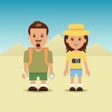 Turister på bakgrunden av pyramiderna royaltyfri illustrationer