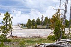 Turister på den konstnärPaintpots Yellowstone nationalparken, Wyoming Fotografering för Bildbyråer