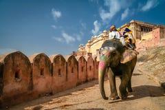 Turister på elefant Royaltyfria Bilder