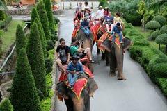 Turister på elefantritt turnerar runt om stad på Oktober 11, 2014 i Thailand Royaltyfri Foto