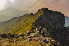Turister på en slinga i Retezat berg, Rumänien Royaltyfri Fotografi