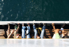 Turister på ett fartyg Royaltyfria Foton