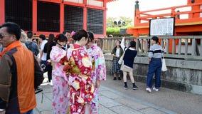 Turister på Fushimien Inari-taisha i Kyoto, stock video