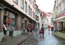 Turister p? gatan i gamla Tallinn arkivfoton
