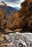 Turister på klippan nedanför vattenfallet royaltyfria bilder