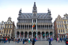 Turister på museet av staden av Bryssel Royaltyfria Bilder