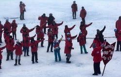 Turister på nordpolen Royaltyfri Foto