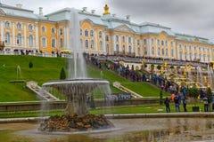 Turister på Peterhof moment royaltyfri fotografi