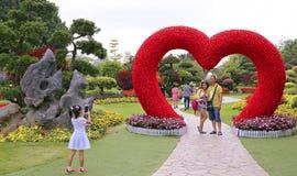 Turister på vårträdgården Arkivfoton