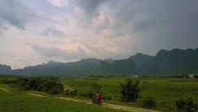 Turister rider sparkcykeln över jordnötfält längs floden arkivfilmer