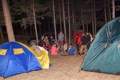 Turister runt om lägerelden på natten Arkivfoto