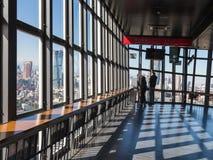 Turister ser staden från Tokyo TVtorn Arkivbild