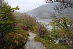 Turister som går i Patagonia sjön Royaltyfria Foton