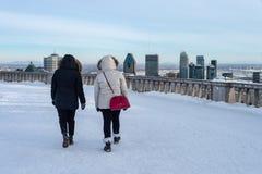 Turister som går på den Kondiaronk belvederen arkivfoto