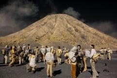 Turister som har gyckel på det Bromo berget Royaltyfri Fotografi
