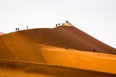 Turister som klättrar sanddyn Sossusvlei Namibia royaltyfri foto