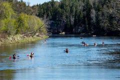 Turister som tycker om vattensportar som kayaking Royaltyfri Bild