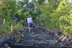 Turister som upp klättrar den gamla stentrappan till bergstoppet fotografering för bildbyråer