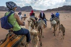 Turister ställde in av i den sena eftermiddagen för en kamelritt till och med Wadi Rum i Jordanien Fotografering för Bildbyråer