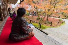 Turister tycker om att hålla ögonen på lönnlövet i zen att arbeta i trädgården Royaltyfri Foto