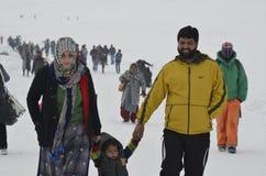 Turister tycker om på det Gulmarg Kashmir Baramulla landet Indien Arkivbild