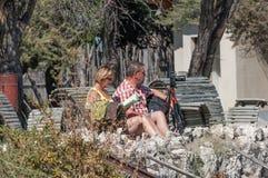 Turisti al punto di vista del waterhole a Okaukeujo Immagini Stock Libere da Diritti