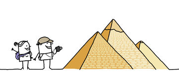 Turisti & piramidi Fotografie Stock Libere da Diritti