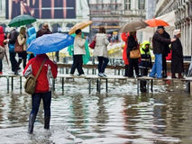 Turisti che camminano lungo i passaggi pedonali alzati a Venezia Immagini Stock