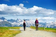 Turisti che fanno un'escursione in Seiser Alm, il prato alpino di più grande elevata altitudine in Europa, montagne rocciose di s Immagini Stock
