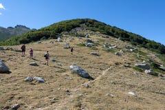 turisti che scalano alla cima della montagna Immagine Stock