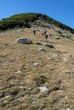 turisti che scalano alla cima della montagna Fotografie Stock