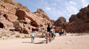 Turisti che visitano le rovine antiche di PETRA sui cammelli, Giordania Immagine Stock Libera da Diritti