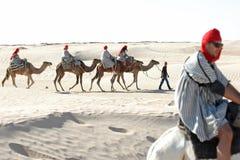 Turisti con i cammelli Immagine Stock